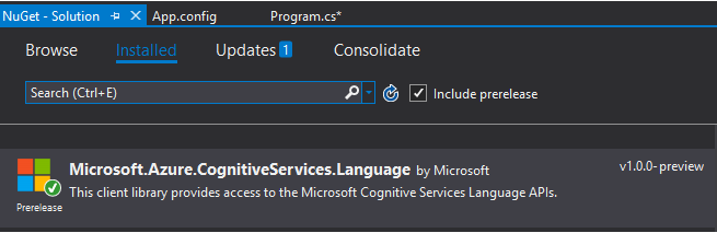 Microsoft Cognitive Services - Text Analytics API